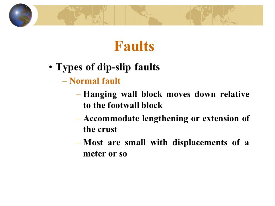 Faults Types of dip-slip faults –Normal fault –Hanging wall block moves down relative to the footwall block –Accommodate lengthening or extension of t