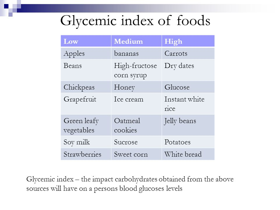 Glycemic index of foods LowMediumHigh ApplesbananasCarrots BeansHigh-fructose corn syrup Dry dates ChickpeasHoneyGlucose GrapefruitIce creamInstant white rice Green leafy vegetables Oatmeal cookies Jelly beans Soy milkSucrosePotatoes StrawberriesSweet cornWhite bread Glycemic index – the impact carbohydrates obtained from the above sources will have on a persons blood glucoses levels
