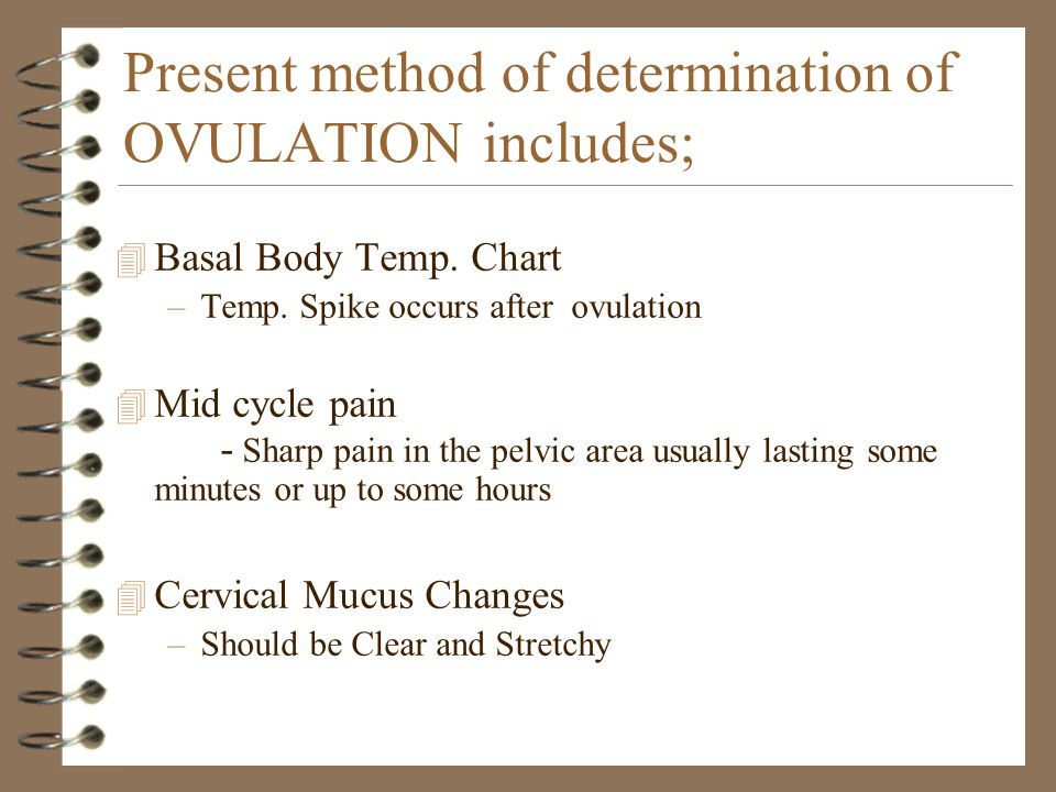 Present method of determination of OVULATION includes; 4 Basal Body Temp. Chart –Temp. Spike occurs after ovulation 4 Mid cycle pain - Sharp pain in t