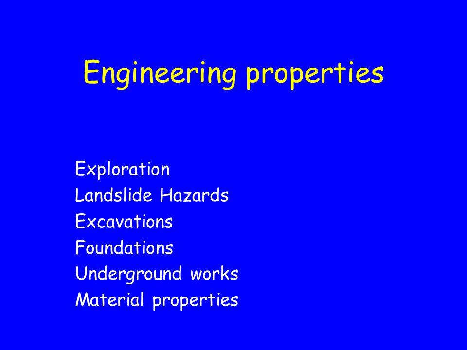 Engineering properties Exploration Landslide Hazards Excavations Foundations Underground works Material properties