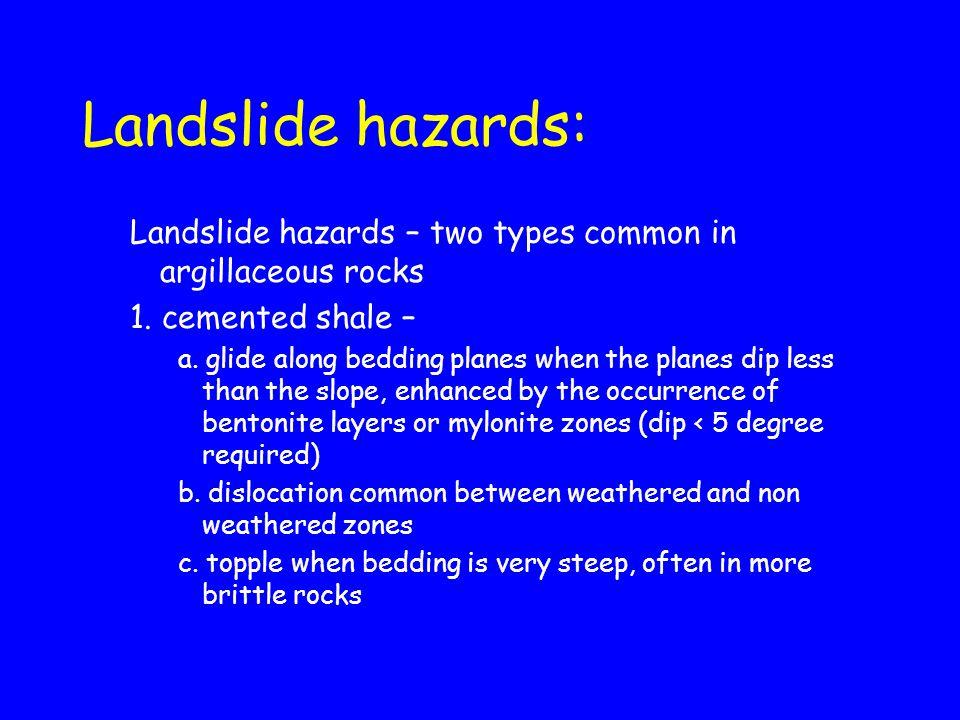 Landslide hazards: Landslide hazards – two types common in argillaceous rocks 1. cemented shale – a. glide along bedding planes when the planes dip le