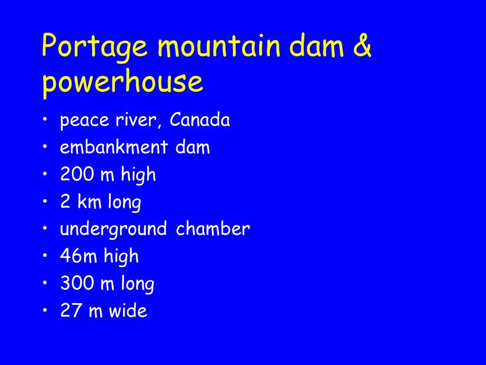 Portage mountain dam & powerhouse peace river, Canada embankment dam 200 m high 2 km long underground chamber 46m high 300 m long 27 m wide