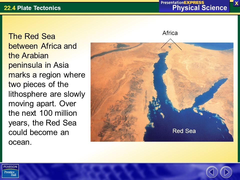 22.4 Plate Tectonics The Red Sea between Africa and the Arabian peninsula in Asia marks a region where two pieces of the lithosphere are slowly moving