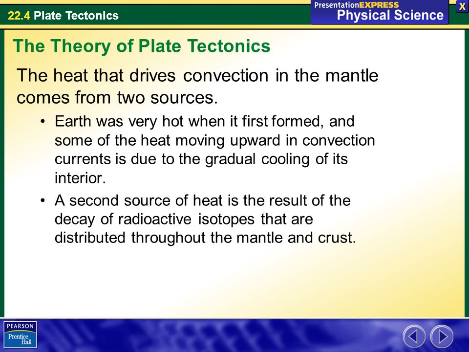 22.4 Plate Tectonics The heat that drives convection in the mantle comes from two sources. Earth was very hot when it first formed, and some of the he