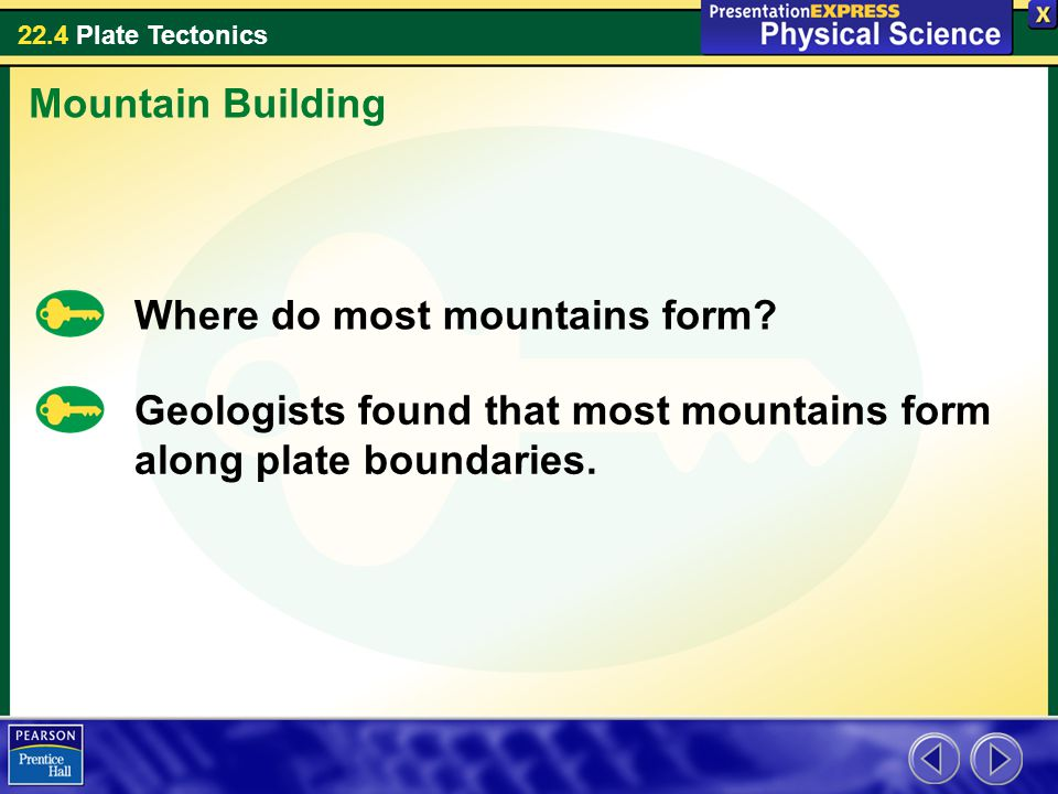 22.4 Plate Tectonics Where do most mountains form? Mountain Building Geologists found that most mountains form along plate boundaries.