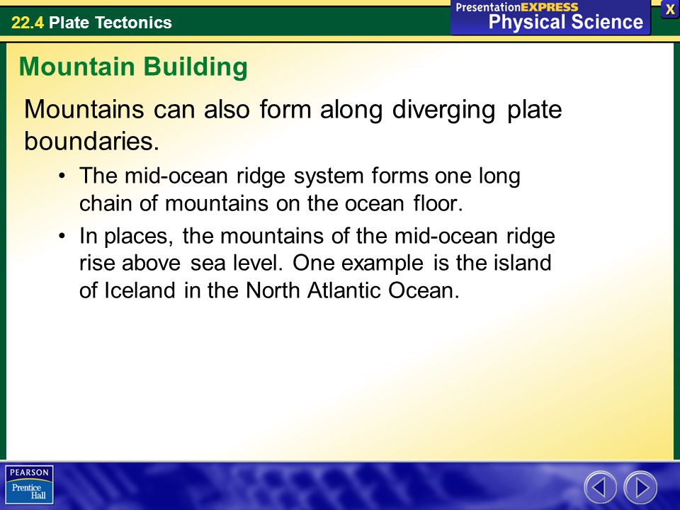 22.4 Plate Tectonics Mountains can also form along diverging plate boundaries. The mid-ocean ridge system forms one long chain of mountains on the oce