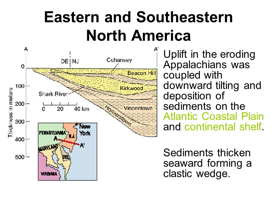 Eastern and Southeastern North America Uplift in the eroding Appalachians was coupled with downward tilting and deposition of sediments on the Atlanti