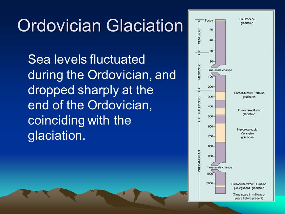 Ordovician Glaciation Sea levels fluctuated during the Ordovician, and dropped sharply at the end of the Ordovician, coinciding with the glaciation.