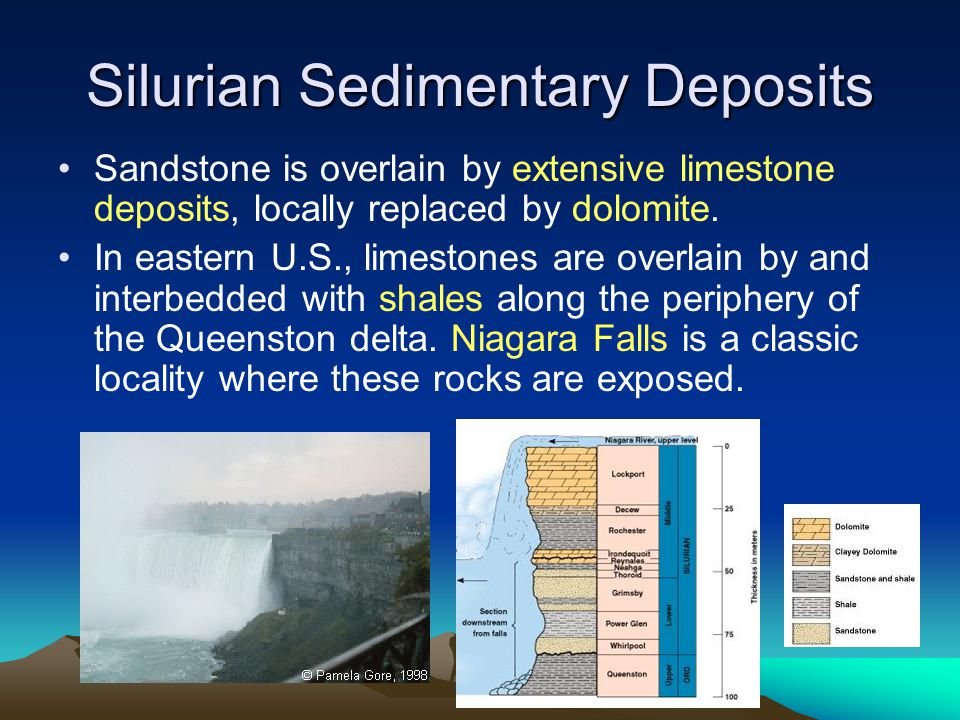 Silurian Sedimentary Deposits Sandstone is overlain by extensive limestone deposits, locally replaced by dolomite. In eastern U.S., limestones are ove