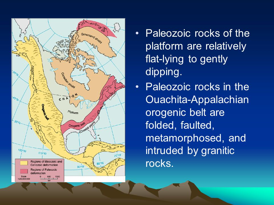 Paleozoic rocks of the platform are relatively flat-lying to gently dipping. Paleozoic rocks in the Ouachita-Appalachian orogenic belt are folded, fau