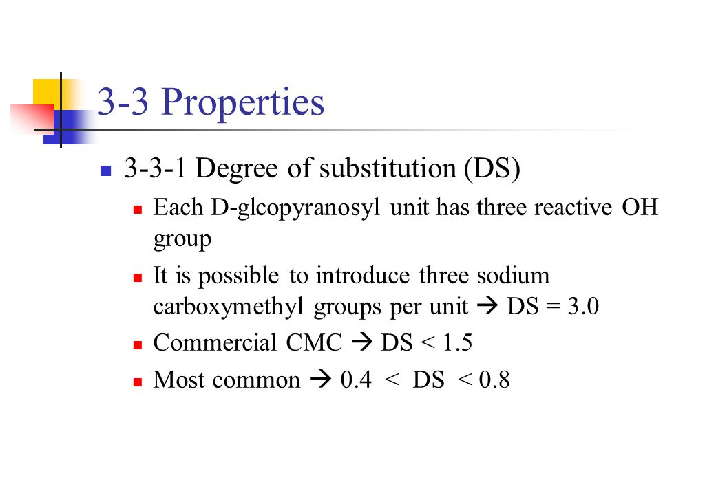 3-3 Properties 3-3-1 Degree of substitution (DS) Each D-glcopyranosyl unit has three reactive OH group It is possible to introduce three sodium carbox