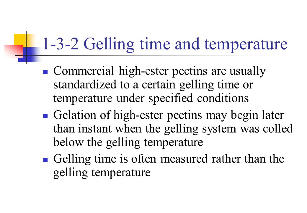 1-3-2 Gelling time and temperature Commercial high-ester pectins are usually standardized to a certain gelling time or temperature under specified con