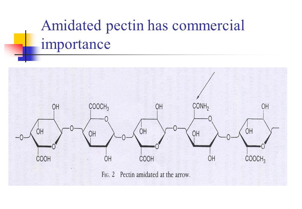 Terminology Protopectin Pectinic acids Pectic acids Pectins Degree of esterification (DE) > 50 High-methoxyl pectins (HM-pectins) High concentration of soluble solids, low pH DE < 50 LM-pectins Divalent cations