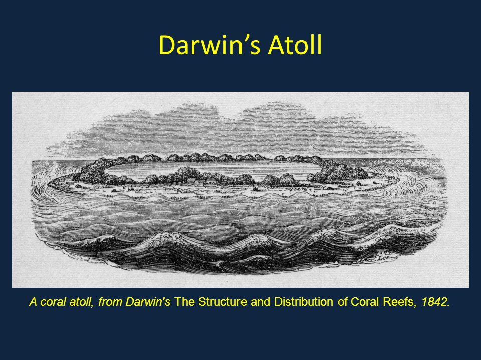Darwin's Atoll A coral atoll, from Darwin s The Structure and Distribution of Coral Reefs, 1842.