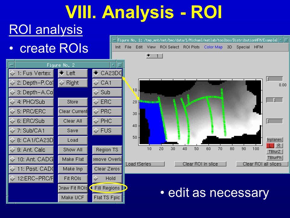 VIII. Analysis - ROI ROI analysis create ROIs edit as necessary
