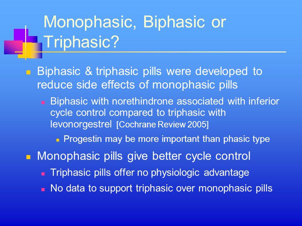 Monophasic, Biphasic or Triphasic.