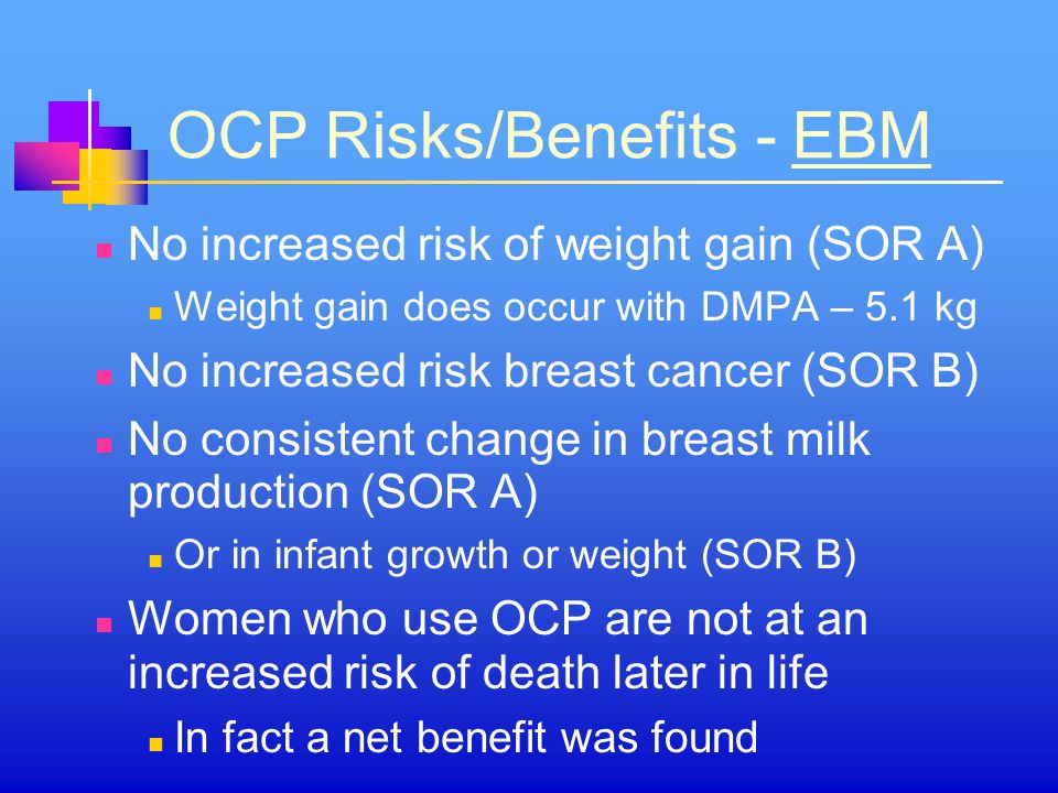 OCP Risks/Benefits - EBM No increased risk of weight gain (SOR A) Weight gain does occur with DMPA – 5.1 kg No increased risk breast cancer (SOR B) No consistent change in breast milk production (SOR A) Or in infant growth or weight (SOR B) Women who use OCP are not at an increased risk of death later in life In fact a net benefit was found