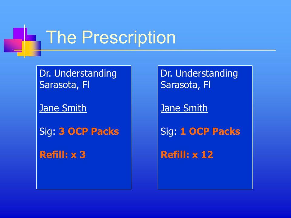 The Prescription Dr.Understanding Sarasota, Fl Jane Smith Sig: 3 OCP Packs Refill: x 3 Dr.