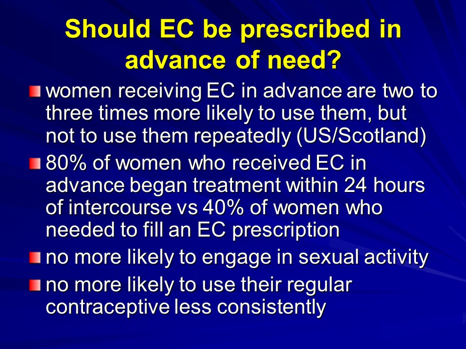 Should EC be prescribed in advance of need.