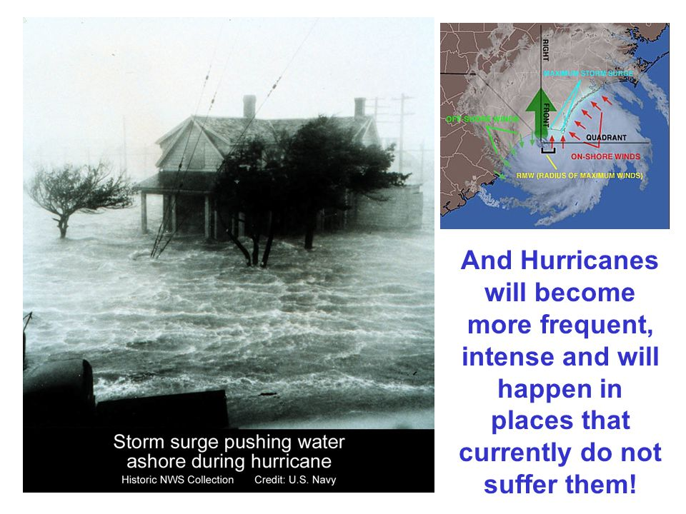 And Hurricanes will become more frequent, intense and will happen in places that currently do not suffer them!