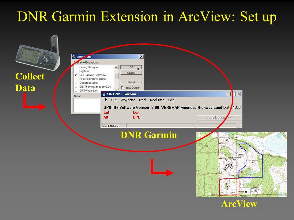 DNR Garmin Extension in ArcView: Set up Collect Data ArcView DNR Garmin