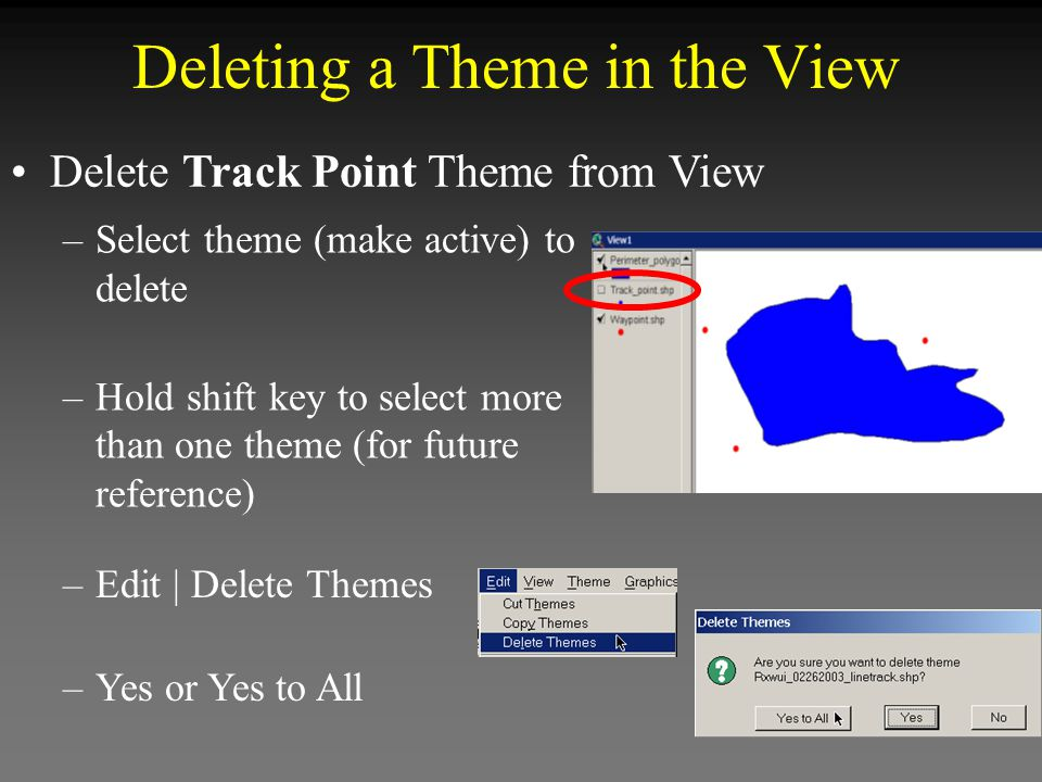 Deleting a Theme in the View Delete Track Point Theme from View –Select theme (make active) to delete –Hold shift key to select more than one theme (for future reference) –Edit | Delete Themes –Yes or Yes to All