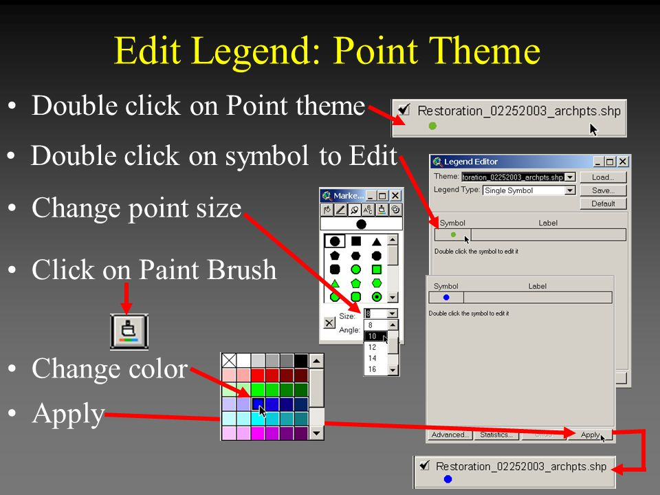 Double click on symbol to Edit Apply Edit Legend: Point Theme Double click on Point theme Change point size Click on Paint Brush Change color