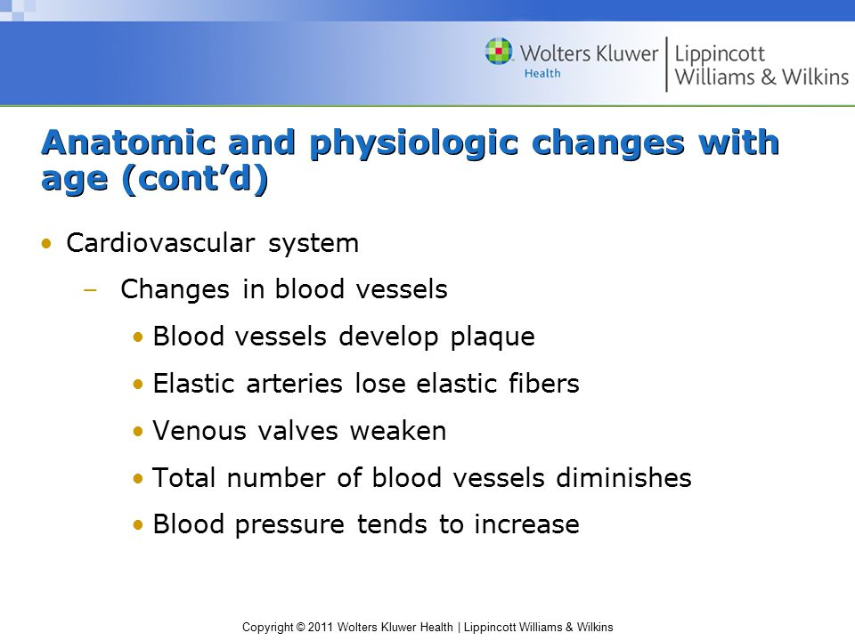 Copyright © 2011 Wolters Kluwer Health | Lippincott Williams & Wilkins Anatomic and physiologic changes with age (cont'd) Cardiovascular system –Chang