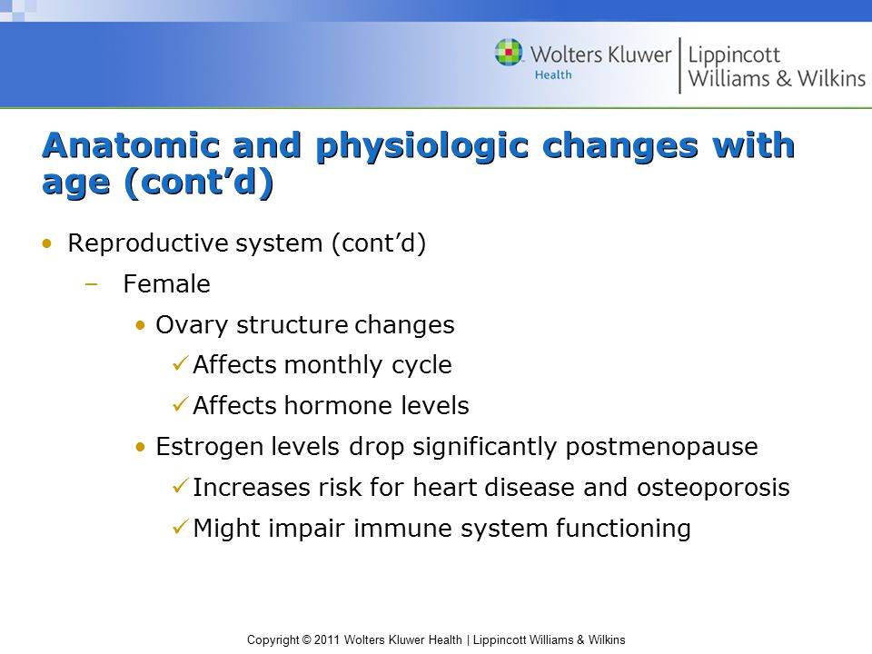 Copyright © 2011 Wolters Kluwer Health | Lippincott Williams & Wilkins Anatomic and physiologic changes with age (cont'd) Reproductive system (cont'd) –Female Ovary structure changes Affects monthly cycle Affects hormone levels Estrogen levels drop significantly postmenopause Increases risk for heart disease and osteoporosis Might impair immune system functioning