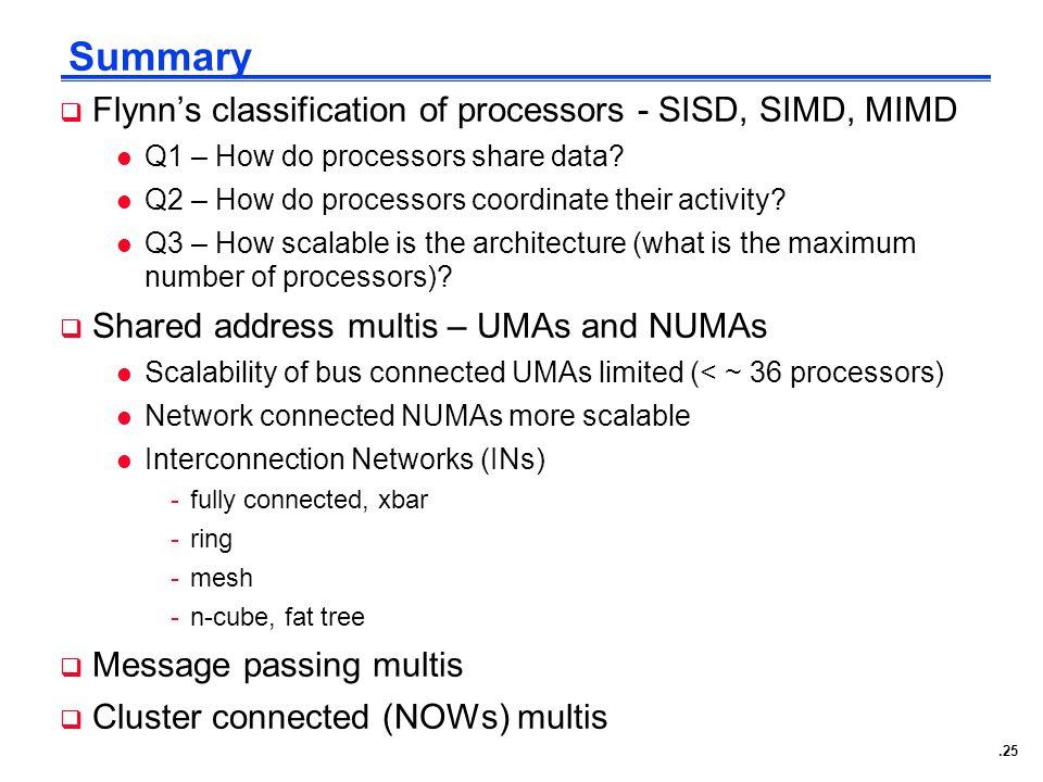 .25 Summary  Flynn's classification of processors - SISD, SIMD, MIMD l Q1 – How do processors share data.