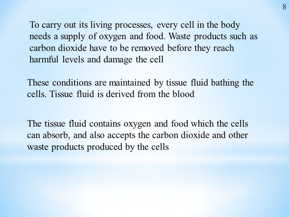To carry out its living processes, every cell in the body needs a supply of oxygen and food. Waste products such as carbon dioxide have to be removed