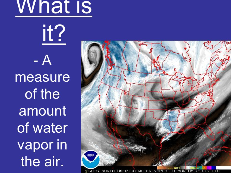 What is it - A measure of the amount of water vapor in the air.