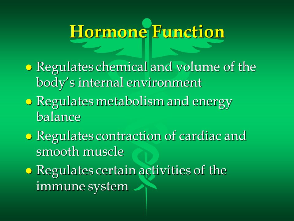 l Maintains homeostasis despite emergency environmental interruptions –infection- trauma - starvation –dehydration- hemorrhage –emotional stress- temperature extremes l Plays a role in normal growth and sequential development l Contributes to the process of reproduction