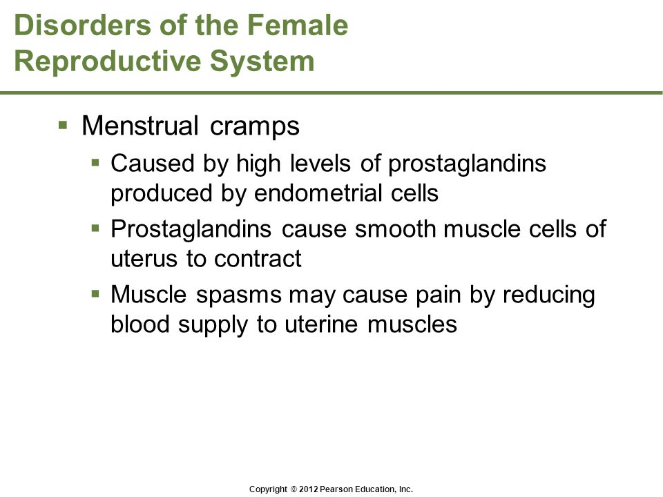 Copyright © 2012 Pearson Education, Inc. Disorders of the Female Reproductive System  Menstrual cramps  Caused by high levels of prostaglandins prod