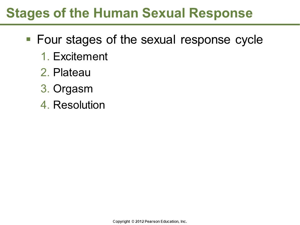 Copyright © 2012 Pearson Education, Inc. Stages of the Human Sexual Response  Four stages of the sexual response cycle 1. Excitement 2. Plateau 3. Or