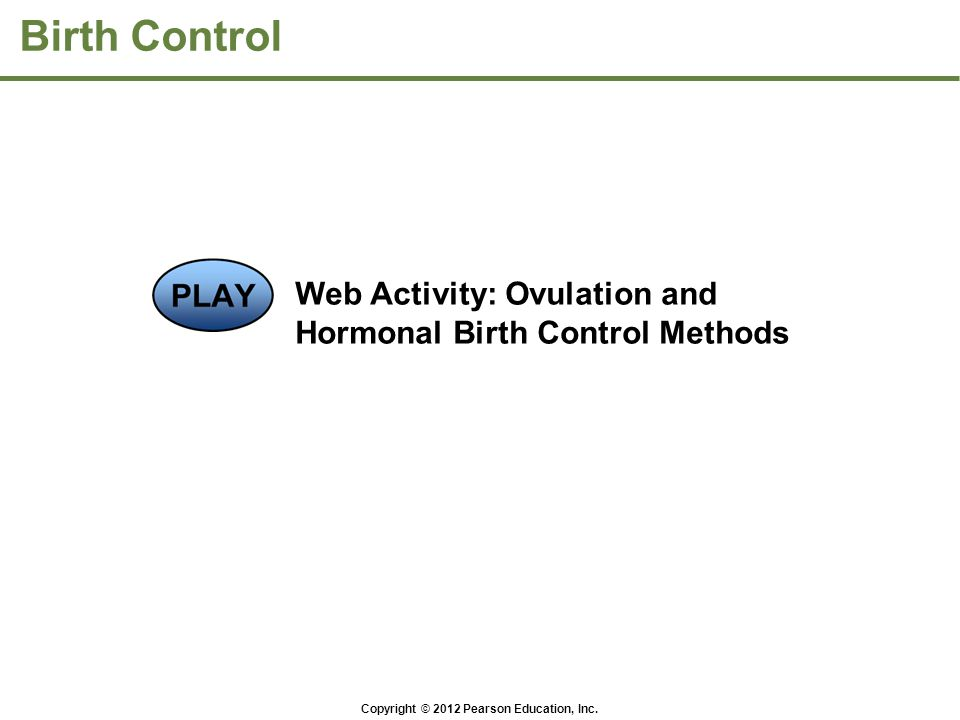 Copyright © 2012 Pearson Education, Inc. Birth Control Web Activity: Ovulation and Hormonal Birth Control Methods
