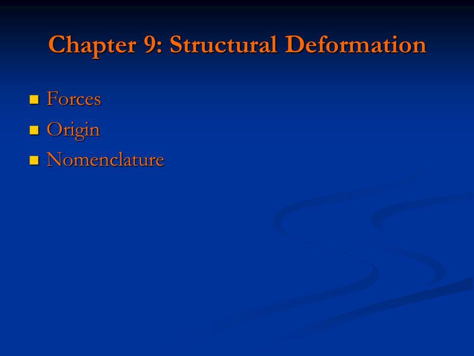 Chapter 9: Structural Deformation Forces Forces Origin Origin Nomenclature Nomenclature