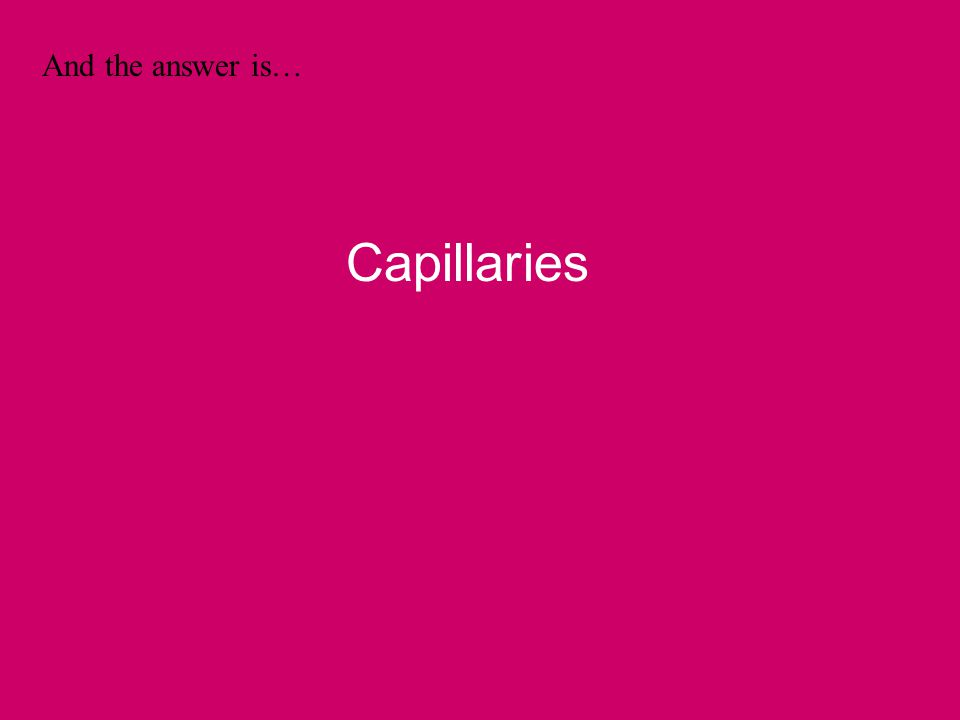 And the answer is… Capillaries