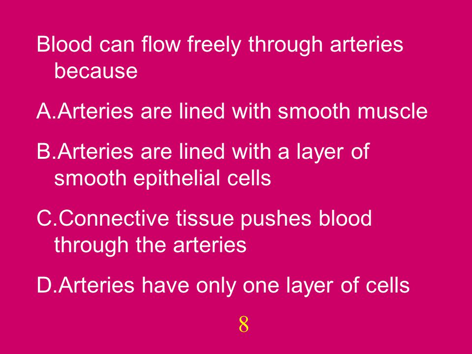 And the answer is… B. Arteries are lined with a layer of smooth epithelial cells