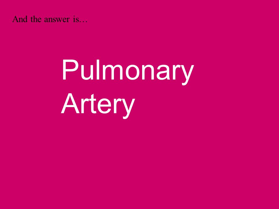 And the answer is… Pulmonary Artery