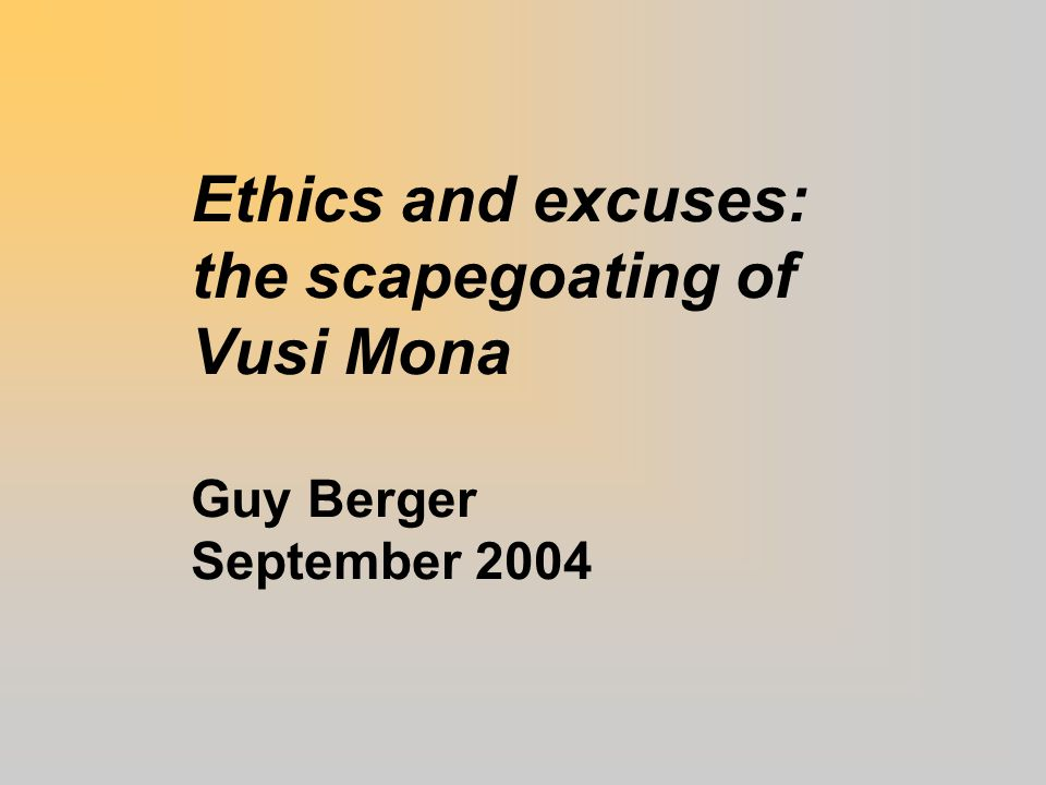Abstract: Vusi Mona – epitomy of sins Cavalier  Hypocritical  Prejudiced  Personal agenda  Amateurish  Dishonest  Violated confidentiality  Had conflict of interests 