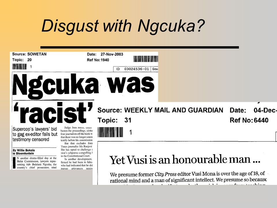 Disgust with Ngcuka?