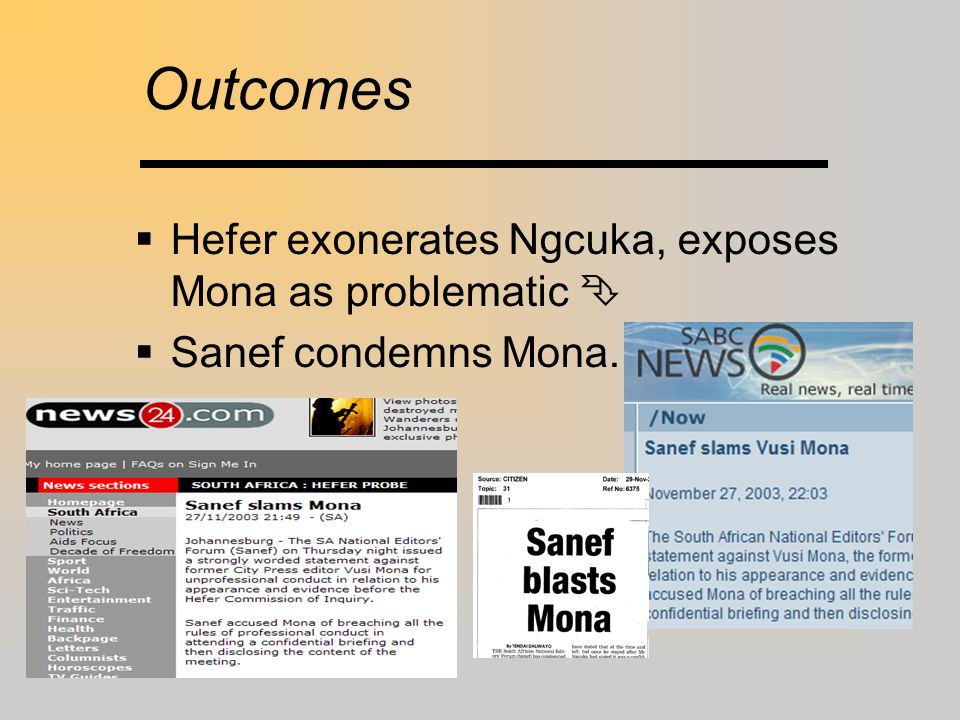 Independence  Participants shd keep perspective:  BUT: both Mona & Tsedu wrote favourable editorials afterwards.