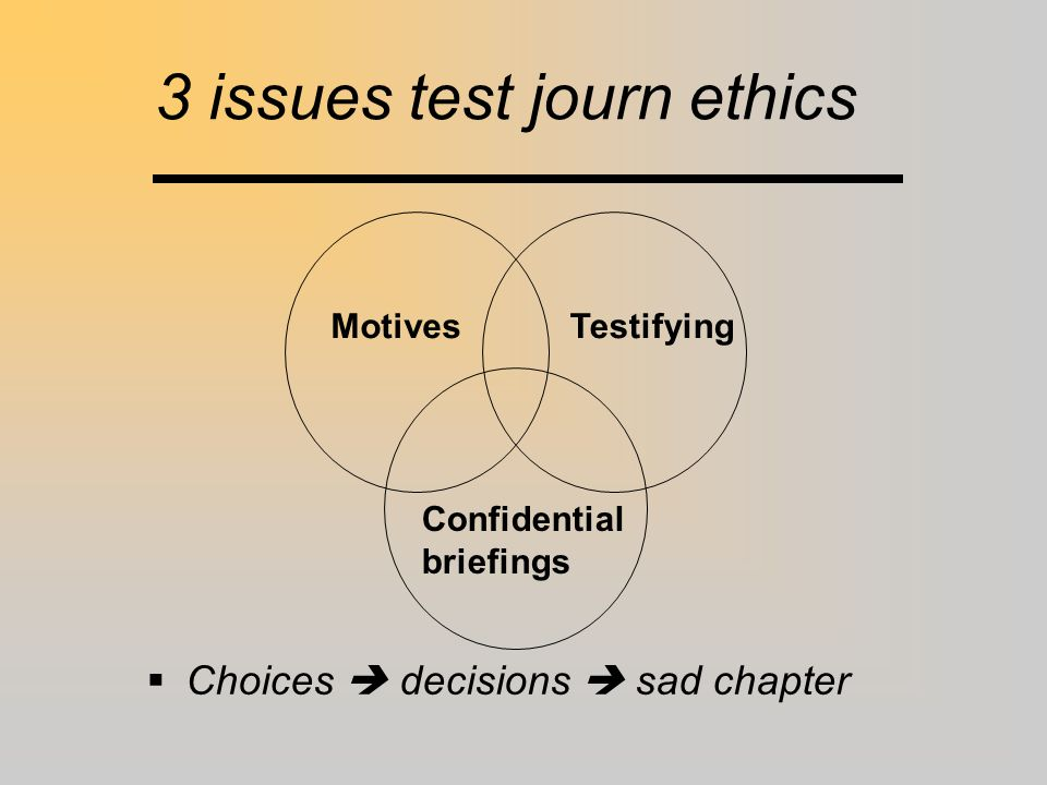 3 issues test journ ethics Motives Confidential briefings Testifying  Choices  decisions  sad chapter