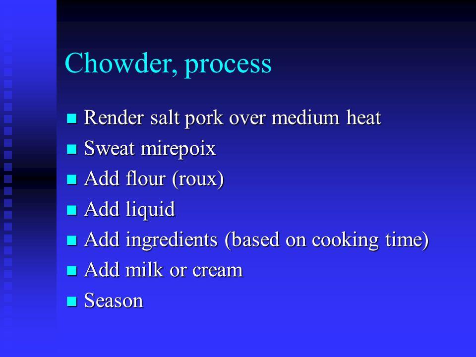 Chowder, process Render salt pork over medium heat Render salt pork over medium heat Sweat mirepoix Sweat mirepoix Add flour (roux) Add flour (roux) Add liquid Add liquid Add ingredients (based on cooking time) Add ingredients (based on cooking time) Add milk or cream Add milk or cream Season Season