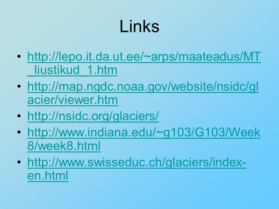 Links http://lepo.it.da.ut.ee/~arps/maateadus/MT _liustikud_1.htmhttp://lepo.it.da.ut.ee/~arps/maateadus/MT _liustikud_1.htm http://map.ngdc.noaa.gov/website/nsidc/gl acier/viewer.htmhttp://map.ngdc.noaa.gov/website/nsidc/gl acier/viewer.htm http://nsidc.org/glaciers/ http://www.indiana.edu/~g103/G103/Week 8/week8.htmlhttp://www.indiana.edu/~g103/G103/Week 8/week8.html http://www.swisseduc.ch/glaciers/index- en.htmlhttp://www.swisseduc.ch/glaciers/index- en.html