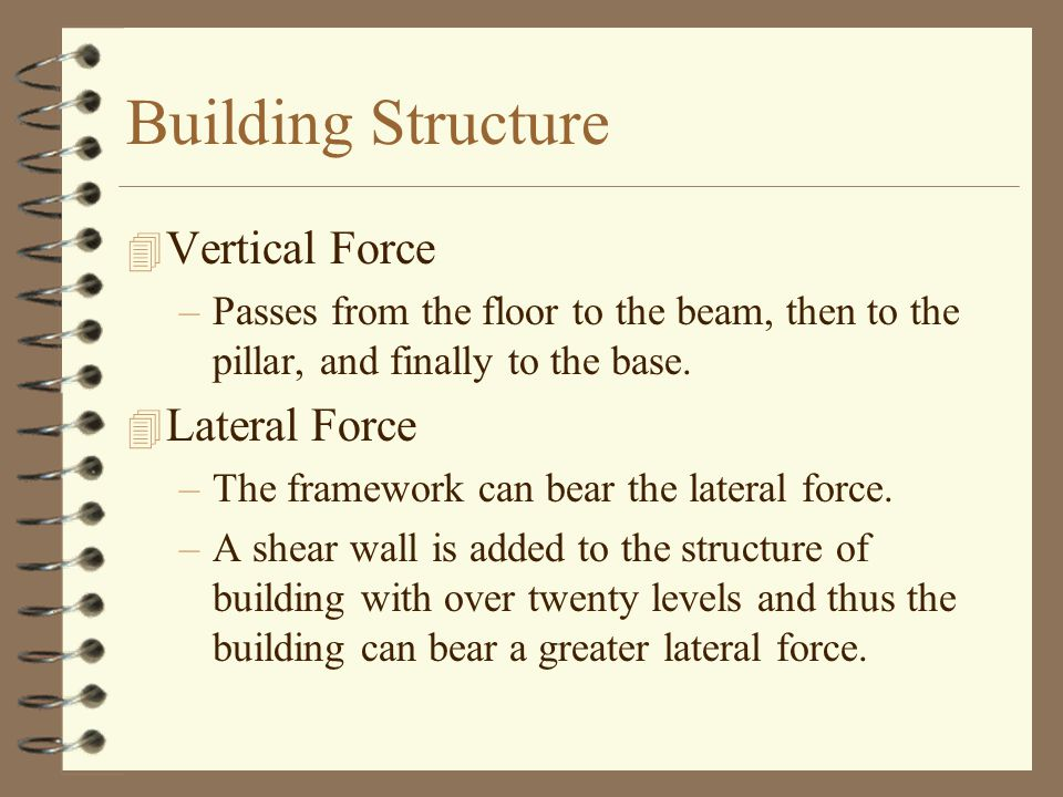 Building Structure 4 Vertical Force –Passes from the floor to the beam, then to the pillar, and finally to the base.