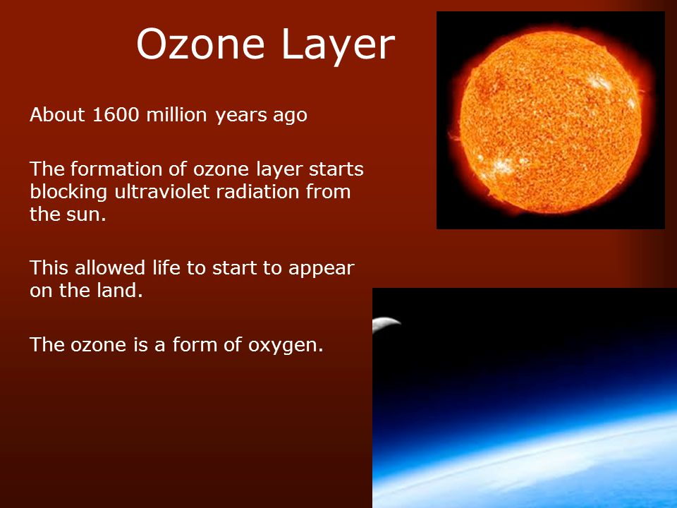 Ozone Layer About 1600 million years ago The formation of ozone layer starts blocking ultraviolet radiation from the sun.