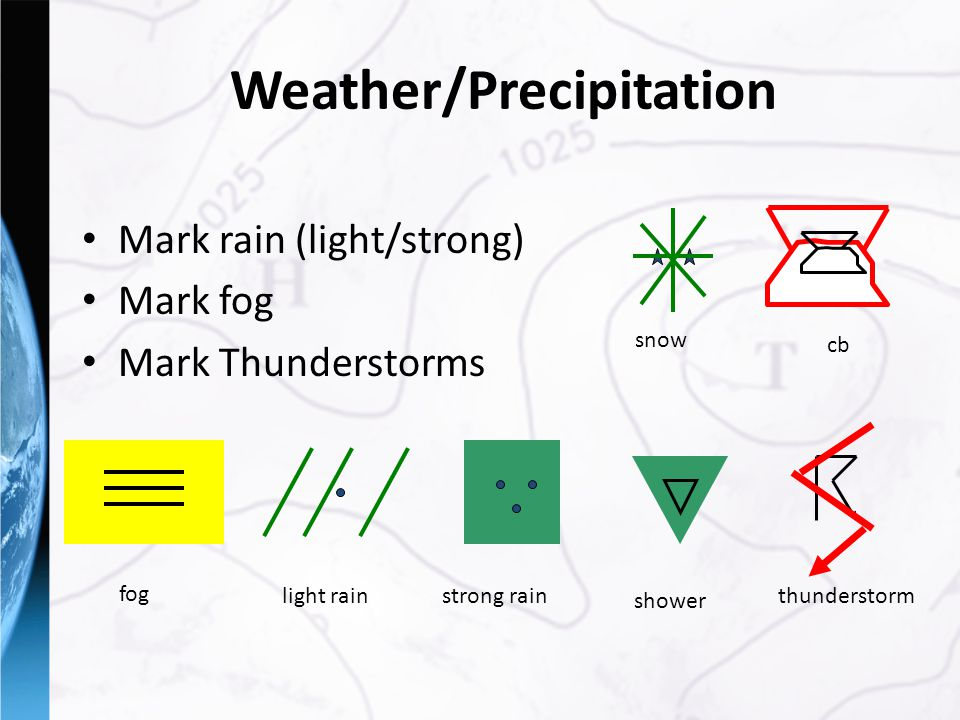 Weather/Precipitation Mark rain (light/strong) Mark fog Mark Thunderstorms fog light rainstrong rainthunderstorm snow cb shower