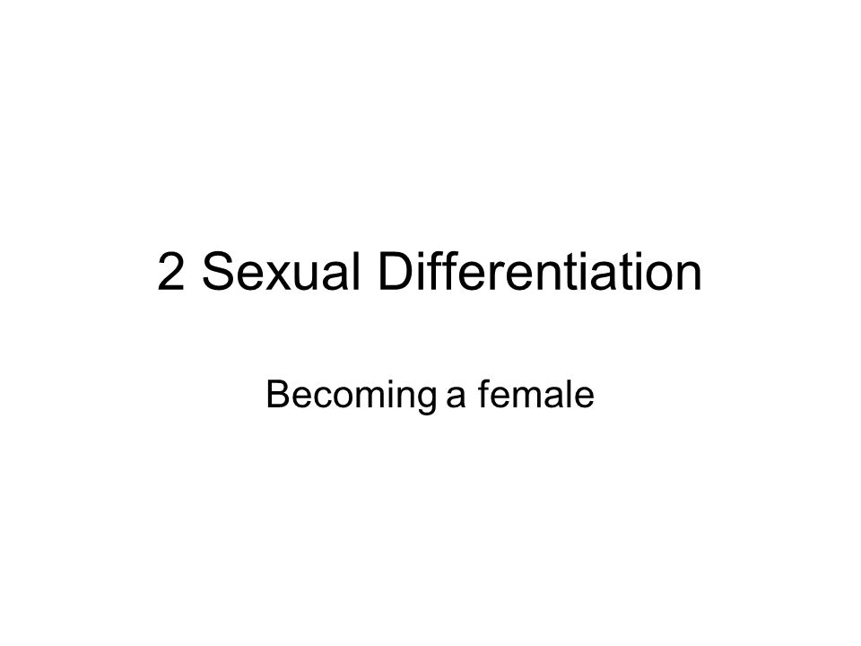 2 Sexual Differentiation Becoming a female